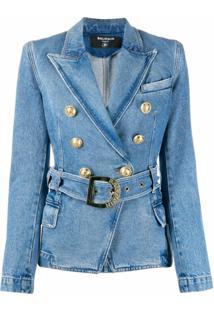 Balmain Blazer Jeans Com Cinto - Azul
