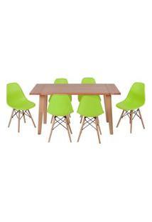 Conjunto Mesa De Jantar Em Madeira 150X80 Vértice + 6 Cadeiras Eiffel - Verde