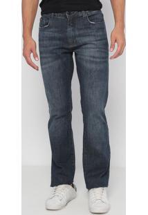 Jeans Reto Com Bigodes- Azul Escuro- Calvin Kleincalvin Klein