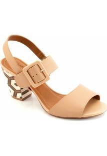 Sandalia Salto Robusto Sapato Show 15607 - Feminino-Bege