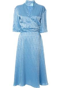 Off-White Jacquard Logo Midi Dress - Azul