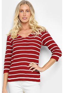 Blusa Mercatto Tricô Listrada Feminina - Feminino-Vermelho Escuro