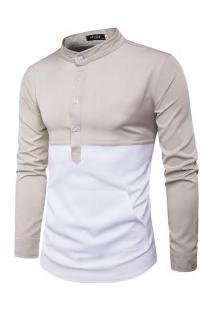 Camisa Masculina Slim Fit Com Bolso Frontal Manga Longa - Bege E Branco