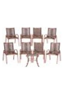 Conjunto 8 Cadeiras E Mesa De Centro Colômbia Aluminio Rose Área Jardim Varanda Corda Sintetica Tauari