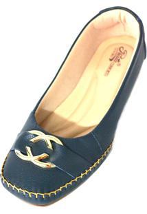 Sapato Prata Couro Conforto Azul Marinho