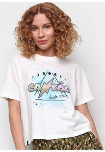 Camiseta Cantão Estampada Manga Curta Feminina - Feminino-Off White
