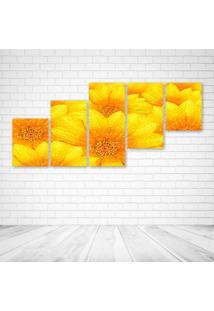 Quadro Decorativo - Yellow Flowers - Composto De 5 Quadros