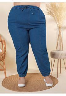 Calça Plus Size Jeans Com Elástico Cós E Barra