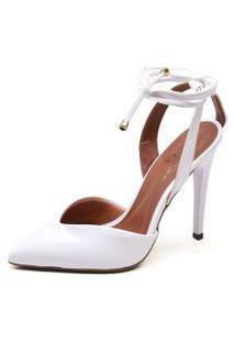 Sapato Ellas Online Scarpin Amarraçáo Branco