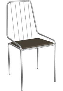 Cadeira Benim Cromada Marrom 1C082Cr-21 Crome