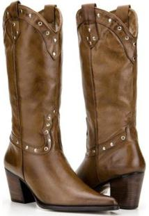 Bota Texana Country Capelli Boots Couro Com Aplicações Metálicas Feminina - Feminino-Marrom Escuro