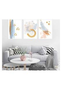 Quadro 60X120Cm Abstrato Nórdico Midas Moldura Branca Sem Vidro Decorativo Interiores