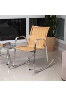 Cadeira Balanço De Alumínio Revestida Com Fibra Sintética Cb301 – Alegro Móveis. - Bege