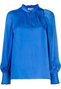 Zadig&Voltaire Blusa Tink De Cetim - Azul