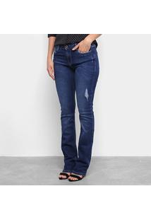Calça Jeans Flare Carmim Feminina - Feminino-Azul Escuro