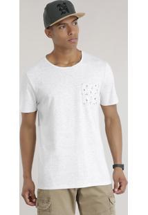 Camiseta Com Bolso Estampado De Flamingos Cinza Mescla Claro