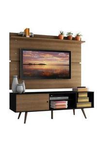 Rack Madesa Cairo E Painel Para Tv Até 65 Polegadas Com Pés De Madeira Preto/Rustic/Rustic