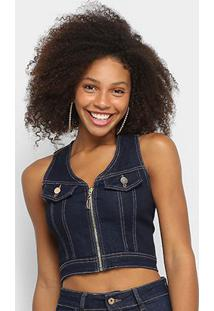 Top Cropped Jeans Pink Zíper Recortes Feminina - Feminino-Azul