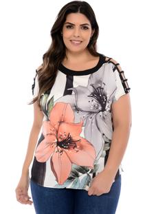 Blusa Elegance All Curves Plus Size Salmon Flower Com Ilhós