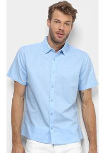 Camisa Colcci Classic Linho Masculina - Masculino-Azul