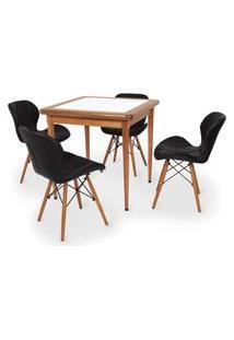 Conjunto Mesa De Jantar Em Madeira Imbuia Com Azulejo + 4 Cadeiras Slim - Preto