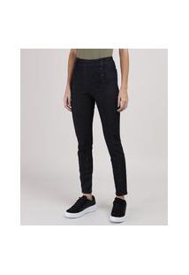 Calça Jeans Sawary Cigarrete Com Recorte Cintura Média Azul Escuro