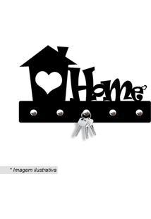Porta Chaves Home Com Coração- Preto- 12X20Cm- Wwevans