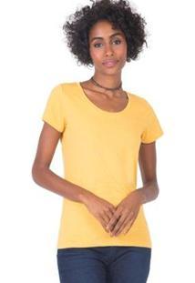 Blusa Básica Mescla Feminina - Feminino-Amarelo
