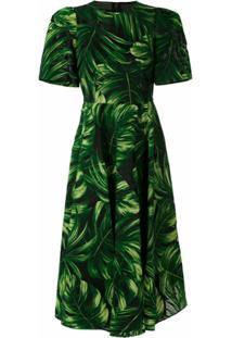 Dolce & Gabbana Vestido Midi Acinturado Estampado - Verde