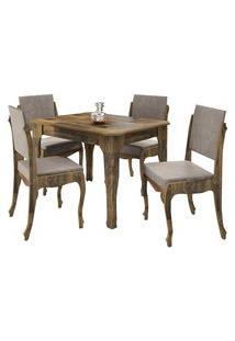 Conjunto De Mesa Onix Com 4 Cadeiras 1,2 Marrom/Bege