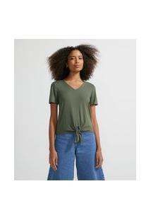 Blusa Básica Em Viscose Com Decote V E Nózinho Na Barra   Marfinno   Verde Escuro   Pp