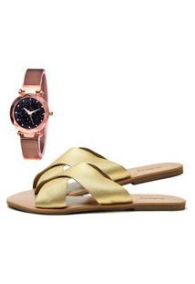 Sandália Feminina Db Now Com Relógio Gold Brinde Dubuy 2028Od Ouro