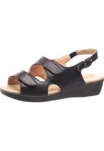 Sandália Anabela Esporão Doctor Shoes 7999 Velcro Café