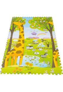 Tapete Girafa & Abc Encaixar - Verde Claro & Amareloibimboo