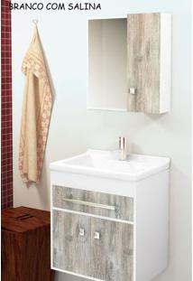Gabinete Para Banheiro Kit Vegas 50Cm - Balcão + Espelheira + Marmorite - Branco Salina