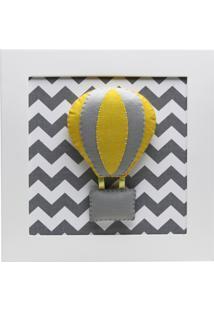 Quadro Decorativo Balão Chevron Bebê Infantil Potinho De Mel Cinza