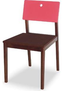 Cadeira Flip Cor Cacau Com Encosto Rosa - 30842 Sun House
