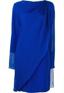 Lanvin Vestido Drapeado Com Sobreposição - Azul