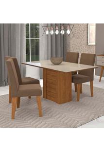 Conjunto De Mesa De Jantar Retangular Rafaela Com 4 Cadeiras Milena Suede Chocolate E Off White