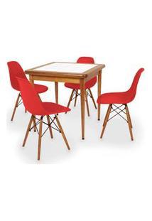 Conjunto Mesa De Jantar Em Madeira Imbuia Com Azulejo + 4 Cadeiras Eames Eiffel - Vermelho