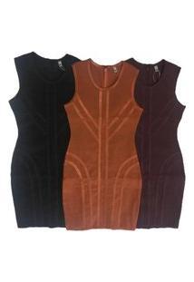 Vestido De Bandage Vesi80821 Bordô