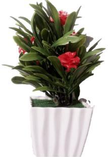 Vaso Com Flor Artificial Vermelha Festaria