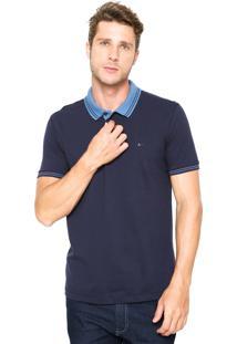Camisa Polo Aramis Regular Fit Frisos Azul