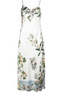 Madison.Maison Vestido Lydia De Seda Com Estampa Floral - Branco