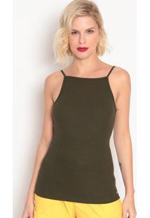 Blusa Canelada Lisa- Verde Militar- Colccicolcci