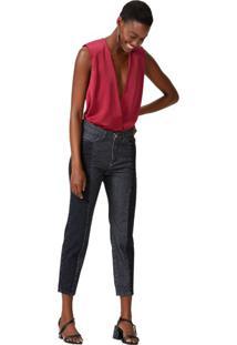 Calça Jeans Slim Com Recorte Contrastante