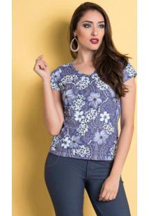 Blusa Floral E Arabescos Com Franzido No Decote