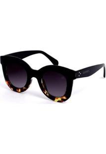 Óculos Bijoulux De Sol Grande Retrô - Feminino-Preto