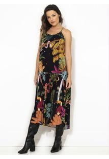Vestido Cropped Floresta Surreal Preto