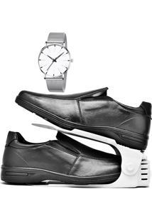 Kit Sapato Social Antistress Confort Com Organizador E Relógio Clean Dubuy 232Db Preto - Kanui